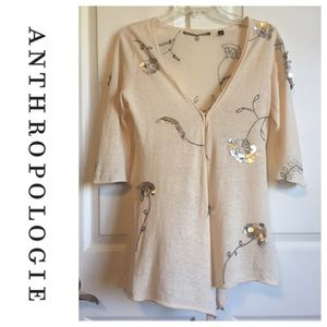 🗽 Anthropologie Knitted & Knotted Sequin Sweater